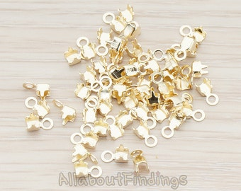 BSC207-G // Glossy Gold Plated Cord end Tips, 20 Pc
