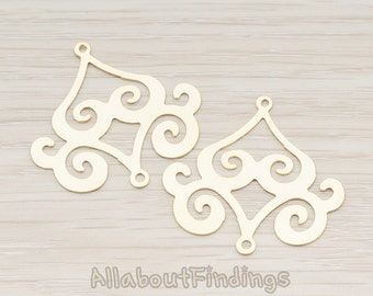 PDT240-MG // Matte Gold Plated Filigree Chandelier Connector and Pendant, 2 Pc
