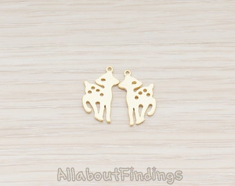 PDT294-MG // Matte Gold Plated Bambi Pendant, 2 Pc