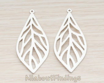 PDT866-MR // Matte Original Rhodium Plated Leaf Pendant, 2 Pc