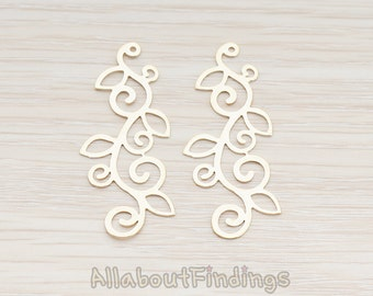 PDT898-G // Glossy Gold Plated Henna Floral Design Pendant, 2 Pc
