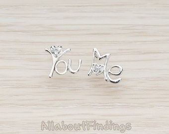 ERG083-R // Glossy Original Rhodium Plated Cubic Zirconia Setting You & Me Letter Ear Post, 2 Pc