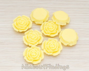 CBC038-BU // Butter Colored Mary Rose Flower Flat Back Cabochon, 4 Pc