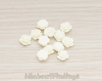 CBC157-04-CR // Cream Colored XSmall Angelique Rose Flower Flat Back Cabochon, 8 Pc