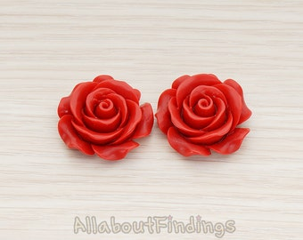 CBC157-06-DR // Dark Red Colored XLarge Angelique Rose Flower Flat Back Cabochon, 2 Pc