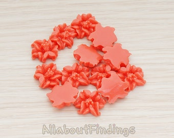 CBC185-DC // Deep Coral Colored Lily Flower Flat Back Cabochon, 6 Pc