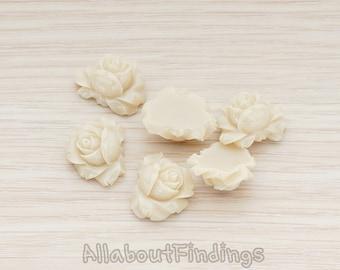 CBC100-LA // Latte Colored Full Bloom Rose Flower Flat Back Cabochon, 4 Pc