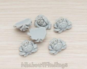 CBC100-DG// Dark Gray Colored Full Bloom Rose Flower Flat Back Cabochon, 4 Pc