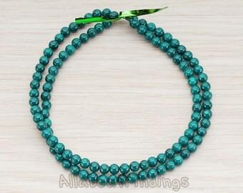 ETC999-01-DG // Dark Green Colored Round Artficial Jade Stone, 4mm, 1 Strand