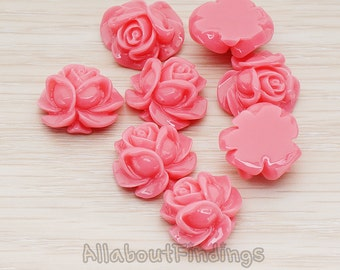 CBC214-01-DP // Dark Pink Colored Full Bloom Rose Flower Flat Back Cabochon, 4 Pc