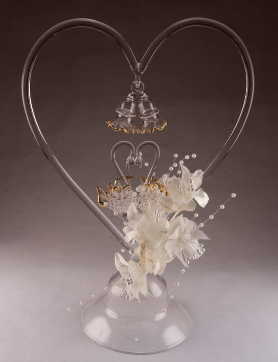 Caressing Swans Glass Wedding Cake Topper