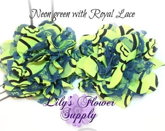 Lace Flower - Set of TWO - Chiffon Flower - Lace rose - Shredded Lace Flower - Wholesale - Supply - DIY - Neon green with royal lace