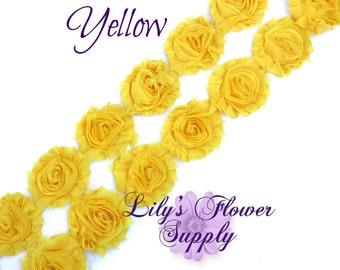 1 Yard - Shabby Flower Trim - Shabby Rose trim - Shabby Flowers - Chiffon Flower - Yellow - Wholesale - Shabby Chic - Rose Trim