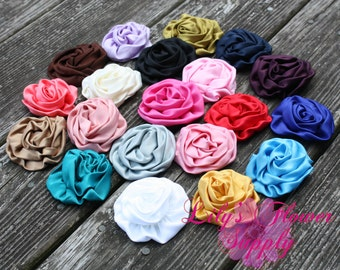 Satin Rolled Rosettes - Set of TWENTY - Rolled Rosette - 3 inch - Satin Flower - Satin Rosette -Fabric Flower - Wholesale - You  Pick Colors
