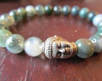 Moss Agate and Buddha Bracelet for Women or Men, Natural Gemstones, Beaded Stone Bracelet, Yoga Bracelet, Yoga Jewelry, Mala Bracelet
