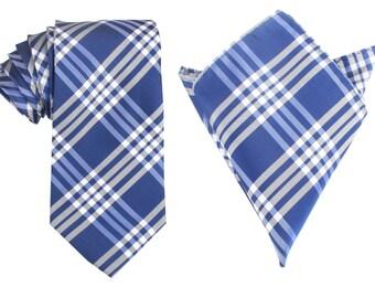 Matching Necktie + Pocket Square Combo Cobalt Blue w/ White Stripes (X141-T85+PS) Men's Handkerchief + Neck Tie 8.5cm Ties Neckties Wedding