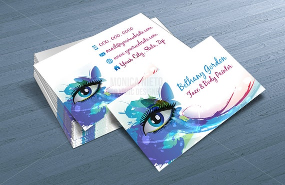 Custom printable face painter business card template makeup artist il570xn accmission Images