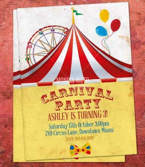 Custom Printable Carnival Circus Birthday Invitation/ Retro Circus ...
