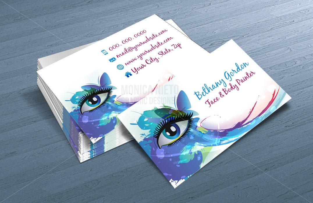 Custom printable face painter business card template makeup for Face painting business