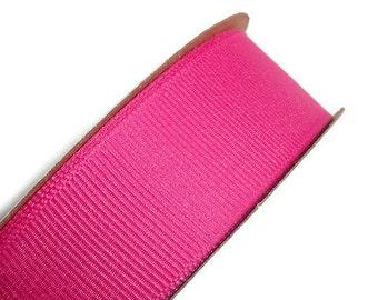 Bright Fuchsia Pink Grosgrain Ribbon, 25mm x 3 yards, Sewing Trim, Scrapbooking, Retail Packaging, DIY