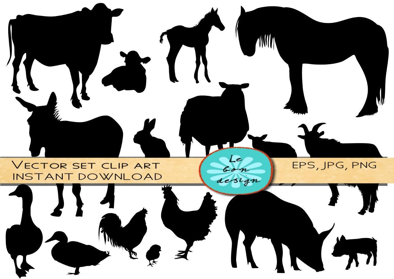 Farm animals silhouette/ clip art vector commercial use