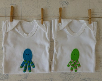 Baby Squid  bodysuit/ onesie size 0-3, 3-6, 6-12, 12-18 months 2 colours Organic upgrade available