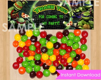 Teenage Mutant Ninja Turtles Favor Bag Toppers - INSTANT DOWNLOAD Printable for Treat or Candy Bags - matches TMNT Birthday Party Supplies