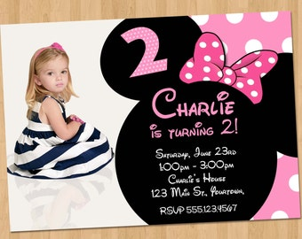 Minnie Mouse Birthday Invitation - Party Printable Custom Personalized Digital Photo Card Invites 4x6 or 5x7 Red, Hot Pink, or Light Pink
