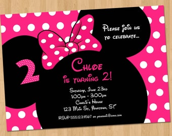 Minnie Mouse Birthday Invitation - Printable Party Custom Personalized Digital Card Invite 4x6 or 5x7 Red, Hot Pink, or Light Pink