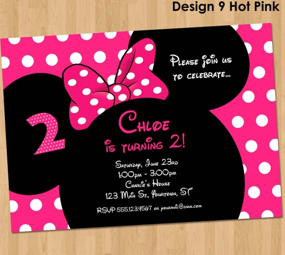 minnie mouse birthday invitation printable party custom. Black Bedroom Furniture Sets. Home Design Ideas