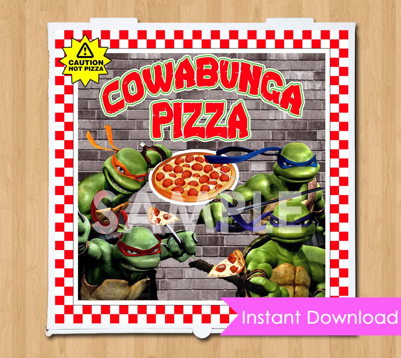 TMNT Pizza Box Label INSTANT DOWNLOAD Printable Teenage