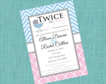 Double Baby Shower Invitation - Gender Neutral Baby Shower Invitation - 5x7 - Printable