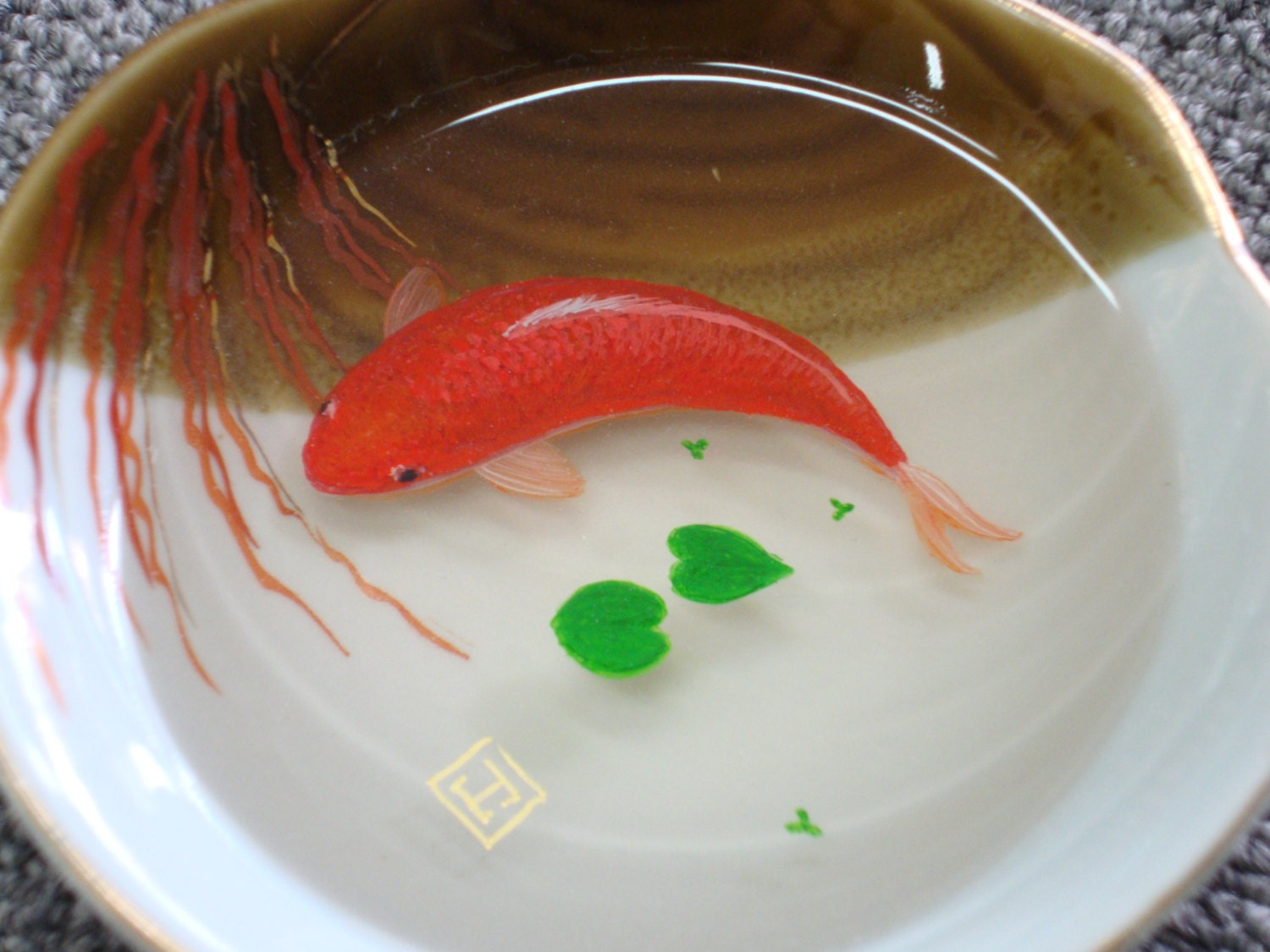 3d koi fish painting in resin On resin koi fish