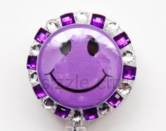 Purple Happy Face Rhinestone badge reel retractable ID badge holder