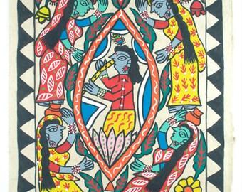 Krishna - Original Nepalese Madhubani painting on handmade paper