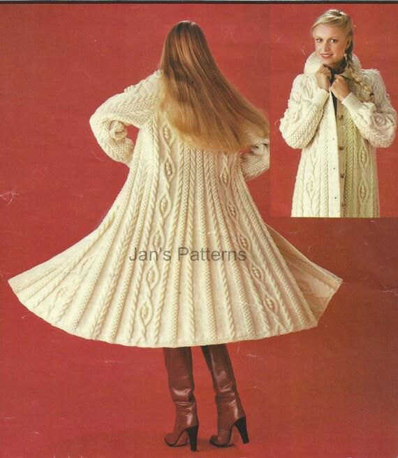 Aran Swing Coat Knitting Pattern In PDF by knittingpatterns4you