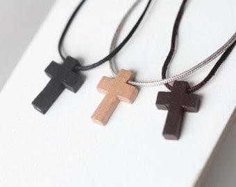 Mens Wooden cross - Mens Nylon Necklace - Wood cross - Stunning Wood cross