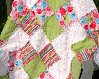 Happy Elephants Flannel Rag Quilt.