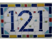 Mosaic House Door NumberSignplaquestreet signaddress sign  made to order (3 digits)