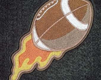 Flaming Football, Iron on Patch, 100% Embroidered Patch, Sports