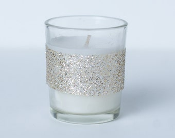 Set of 24 Votive Candles Gold Glitter Trim Wedding Reception