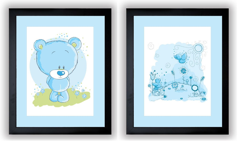 Delicate Blue Baby Boy Nursery Art Nursery Print Set of 2 Baby Art Teddy Bear and Birds Wall Art Nur