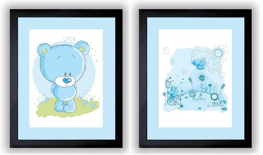 Delicate Blue Baby Boy Nursery Art Nursery Print Set of 2 Baby Art Teddy Bear and Birds Wall Art Nur