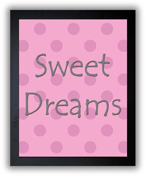 Sweet Dreams Print Nursery Art Nursery Baby Art Polka Dots Pink Grey Gray Decor Child Baby Art Print