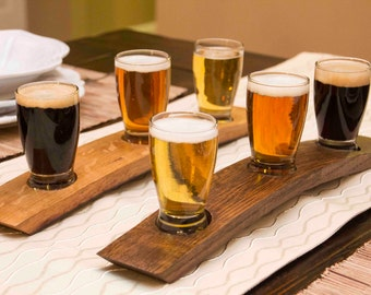 The Original Beer Flight/ Oak Barrel Taster/ 3 Glass beer flight/ Beer Tasting Set/