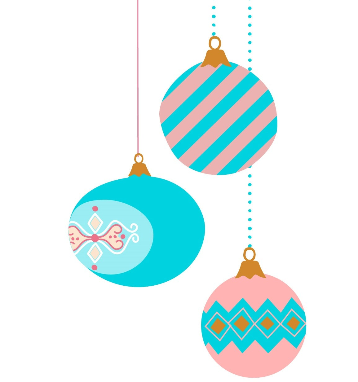 9 vintage Christmas ornament clip art pastel color retro