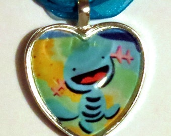 Wooper Pokemon necklace made from upcycled Pokemon cards