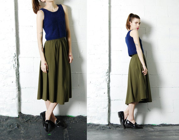 70s 80s OLIVE GREEN Long Midi Skirt XS