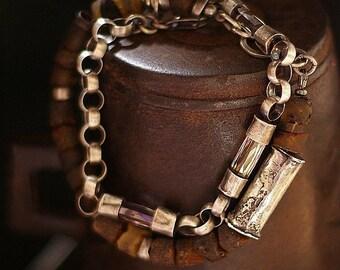 USE CODE ! • Sale 10 - 20 % OFF •  Raw Baltic amber bracelet • 925 sterling silver • raw silver bracelet • Swarovski crystal chain bracelet