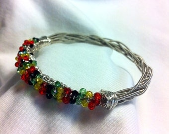 Guitar Strings Bangle Bracelet with Crystals